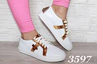 Кеды белые на шнурках из натуральной кожи