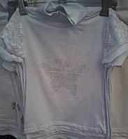 Модная блузка Бабочка  для девочки хлопок-гипюр 4-8 лет  опт и розница S946