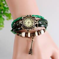 Женские часы-браслет винтажные зеленые Эйфелева Башня