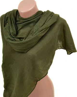 Качественный хлопковый шарф размером 180*85 см Подиум 3410 G (темно-зеленый)