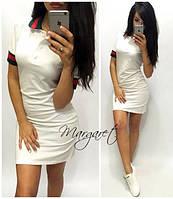 Платье с воротником поло белое мини SMp480