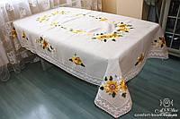 Скатерть льняная серая с вышивкой, арт. ALT-7065