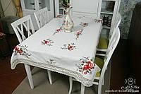 Скатерть льняная белая с вышивкой, арт. ALT-8111