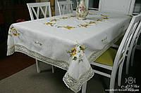 Скатерть льняная белая с вышивкой, арт. ALT-8117