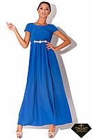 Платье длинное женское от груди Синее (норма и батал)