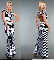 Платье длинное женское В полоску с открытой спиной