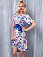 Платье короткое женское синее Косой запах