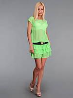 Платье женское с многослойной юбкой Салатовое