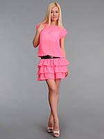 Платье женское с многослойной юбкой Розовый неон