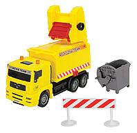 """Игрушечные машинки и техника «Dickie Toys» (3343000) мусоровоз """"MAN"""" с мусорным контейнером и ограждением, 22 см (жёлтый)"""
