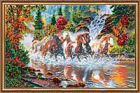 """Набор для вышивания бисером на натуральном холсте """"Семерка лошадей"""""""