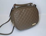Стильная женская стеганная сумка бежевого цвета MQ