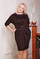 Трикотажное платье Тереза шоколад большие размеры 50-56