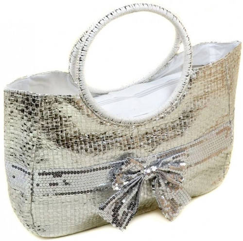 Серебристая женская сумка-корзина Podium PC5491R natural silver