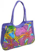 Фиолетовая пляжная сумка с цветочным рисунком Podium 1330 purple