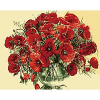 """Картина по номерам """"Красные маки в стеклянной вазе"""" 40х50 см. Идейка. КН1076"""