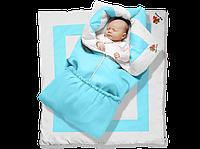 """Одеяло-трансформер """"Ontario Linen"""" Premium ДОЛМАТИН (85*90 см, цвет - голубой / бязь, силикон 300 / вышивка  (Скидка на доставку Новой почтой - 25%)"""