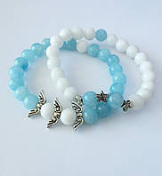 Браслет женский из натуральных камней голубого Аквамарина и белого Нефрита BD1306