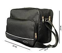 Мужская большая сумка под формат А-4 черная (2641)