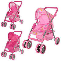 Детская коляска для кукол Melogo 9352, регулируемые детали, поворотные колеса, корзина, цвет на выбор