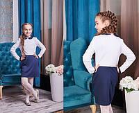 Детское платье двухцветное на школу в расцветках КЛ231