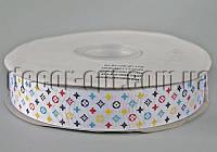 Лента репсовая белая брендированная 2,5 см 50 ярд