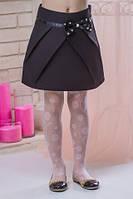 Школьная юбка для девочки с красивым атласным бантом