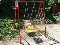 """Качели уличные, """"лодочка""""  для двух детей на цепях (качели+баскетбольное кольцо+ гладиаторская сетка+дартс)"""