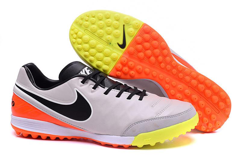 Футбольные сороконожки Nike Tiempo Mystic V TF White/Black/Total Orange