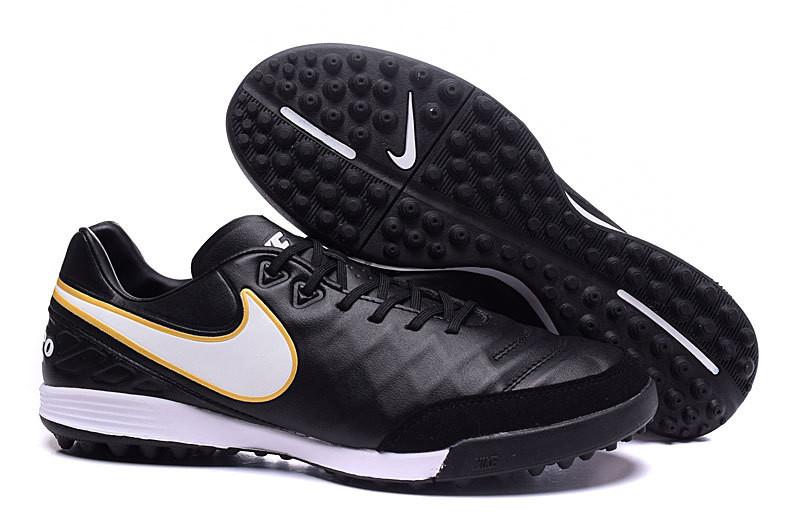 Футбольные сороконожки Nike Tiempo Mystic V TF Black/White/ Metallic Gold
