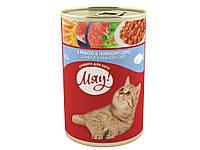 Консерва для котов с рыбой в нежном соусе 415г - МЯУ