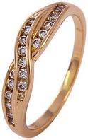 Позолоченное кольцо с цирконами, размер 16,17 (GF54)