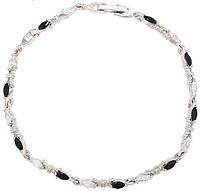 Браслет белая позолота (родий) с черными и белыми цирконами