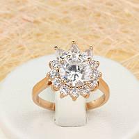 R1-0703 - Замечательное кольцо Цветок с прозрачными фианитами розовая позолота, 17 р.