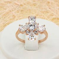 R1-0704 - Чудесное кольцо с прозрачными фианитами розовая позолота, 16, 16.5 р.