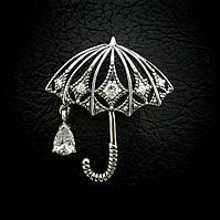 """Серебряная брошь """"Зонтик"""" с подвеской из фианита"""