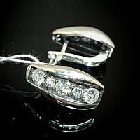 Серебряные серьги с фианитами, 10 камней круглой формы