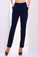 Женские брюки с карманами и стрелками темно-синего цвета