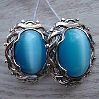 Шикарные серебряные серьги со вставками из искусственного улексита