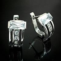Оригинальные серебряные серьги со вставками из фианита, 10 камней