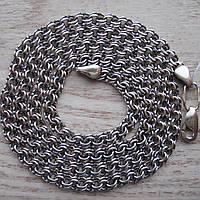 Цепь серебряная, 500мм, плетение Бисмарк, 13,5 грамм, черненое серебро