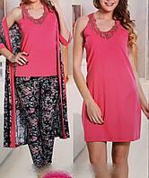 Набор женский халат + ночнушкаи и пижама 13575