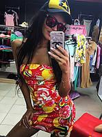 Женское модное платье мини с разноцветным принтом