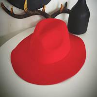 Шляпа женская фетровая Федора с широкими полями красная