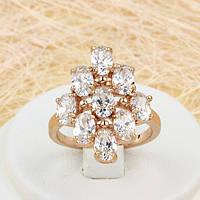 R1-0707 - Изумительный перстень с прозрачными фианитами розовая позолота, 18.5 р.