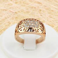 R1-0714 - Резное кольцо с узором Versace и прозрачными фианитами розовая позолота, 16, 17 р.