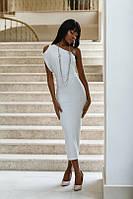 Платье Летнее коктельное оголённое плечо цвет молоко