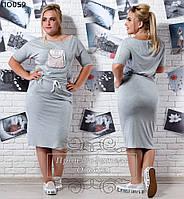 Женское короткое платье на шнурке 50-56