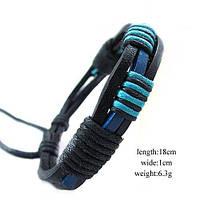 Браслет мужской кожаный плетеный с завязками