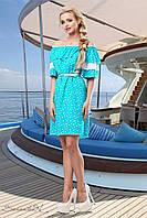 Летнее платье спадающее с плеч с кружевом на рукавах 42-52 размеры